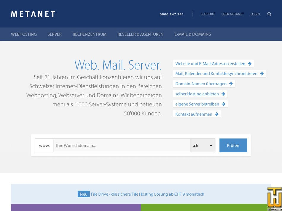 metanet.ch Screenshot