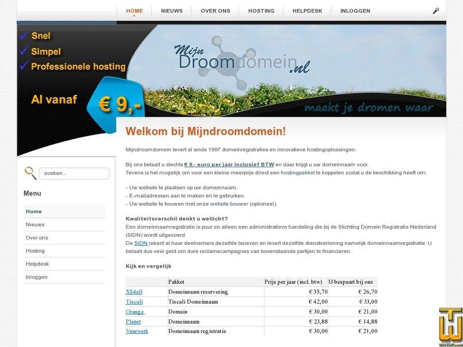 mijndroomdomein.nl Screenshot