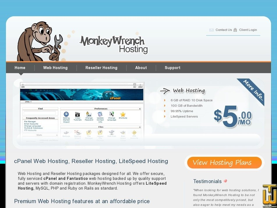 monkeywrenchhosting.com Screenshot