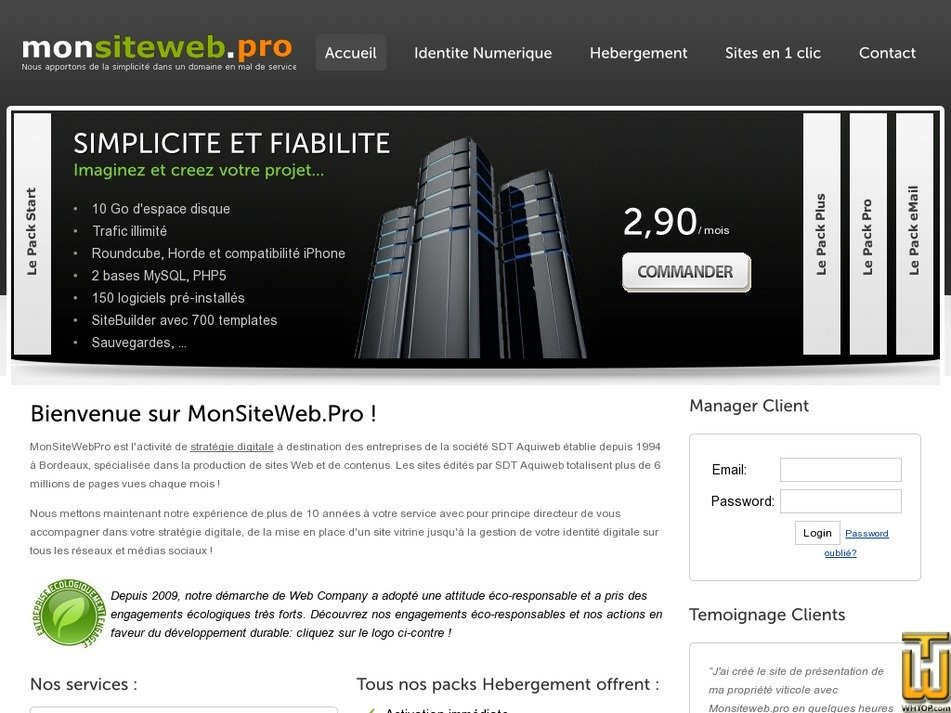 monsiteweb.pro Screenshot