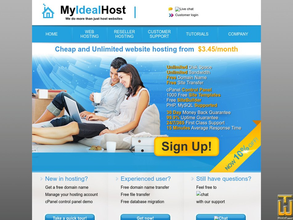 myidealhost.com Screenshot