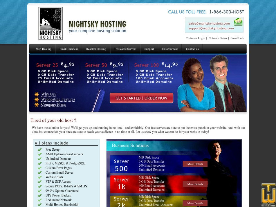 nightskyhosting.com Screenshot