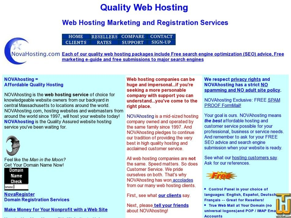 novahosting.com Screenshot