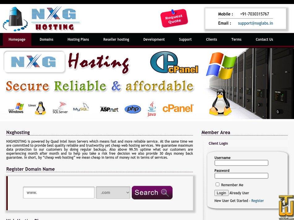 nxghosting.com Screenshot