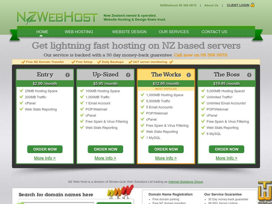 nzwebhost.co.nz Screenshot