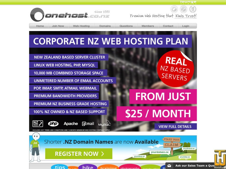 onehost.co.nz Screenshot
