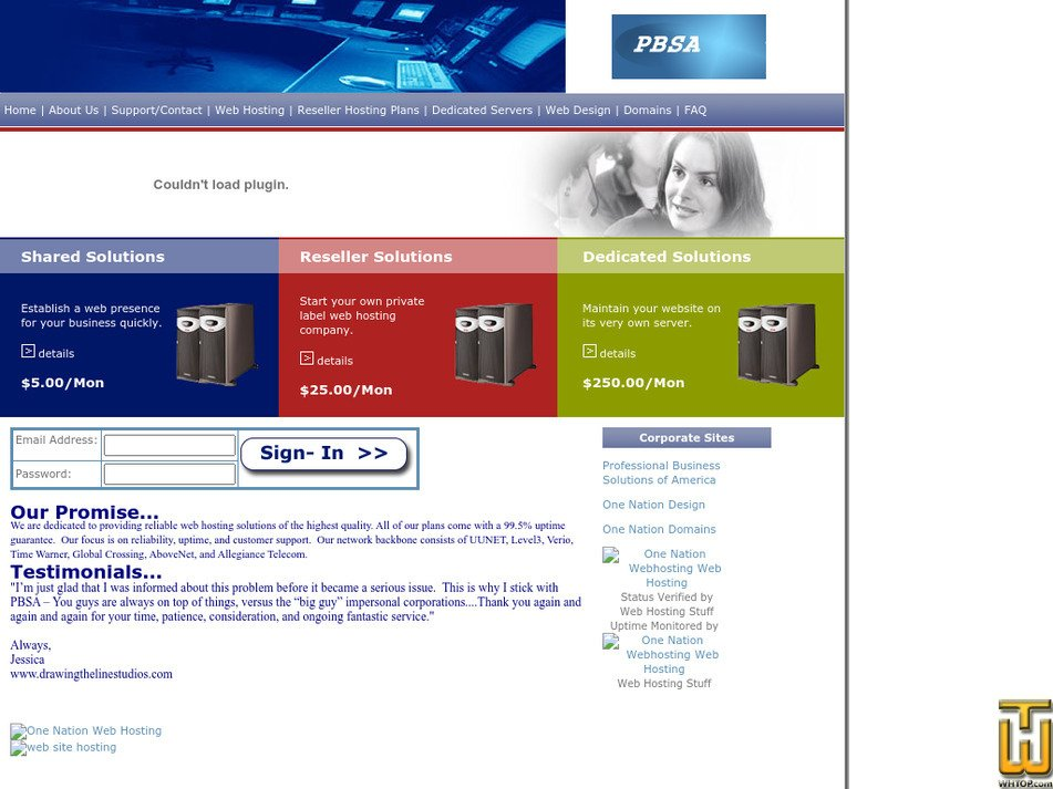 onenationwebhosting.com Screenshot