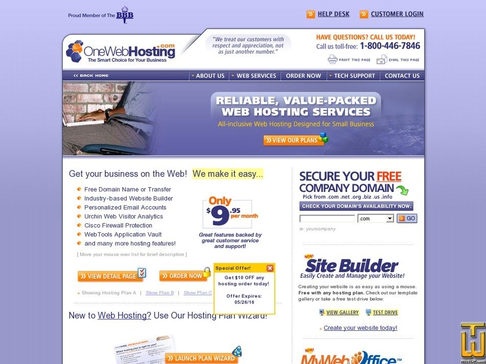 onewebhosting.com Screenshot