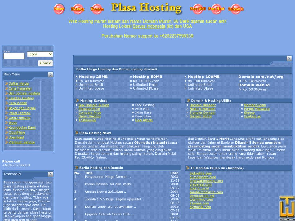 plasahosting.com Screenshot
