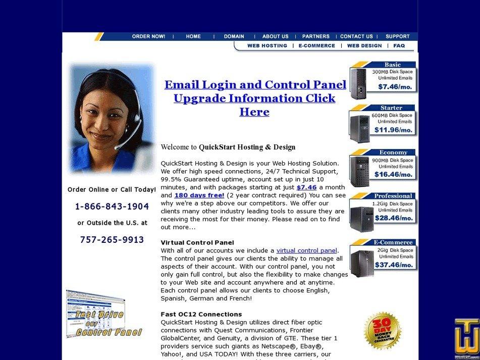 quickstarthosting.com Screenshot