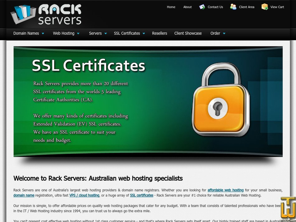 rackservers.com.au Screenshot