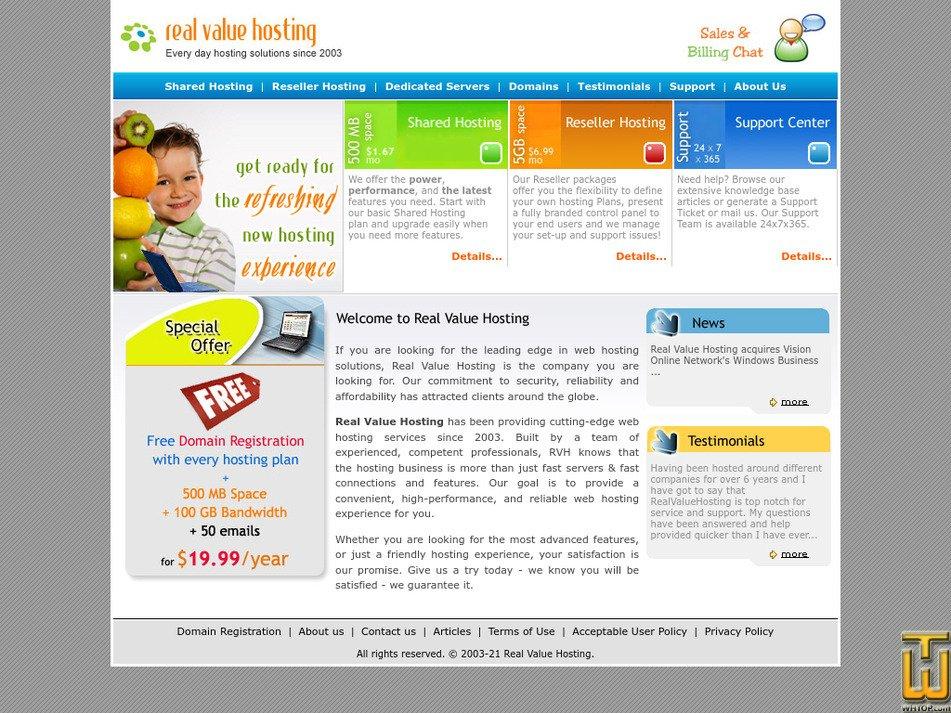realvaluehosting.com Screenshot