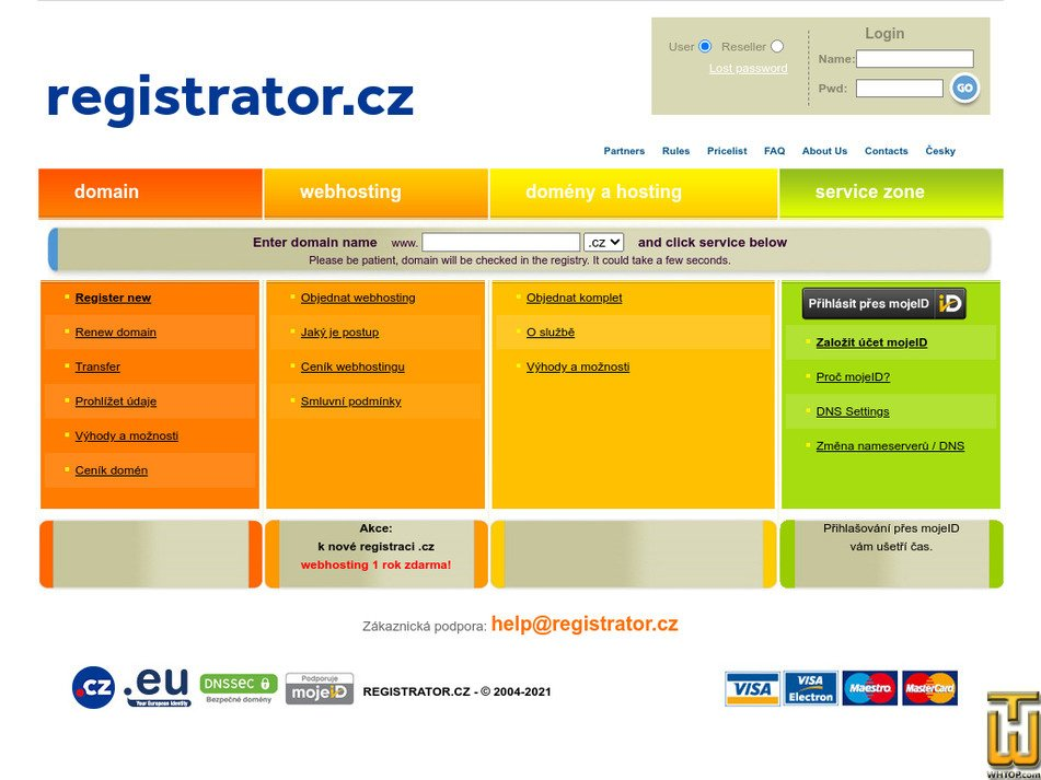 registrator.cz Screenshot