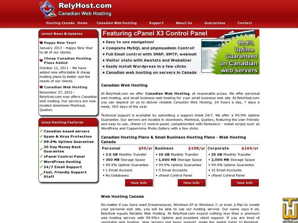 relyhost.com Screenshot