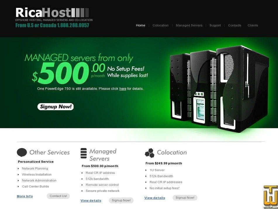 ricahost.com Screenshot