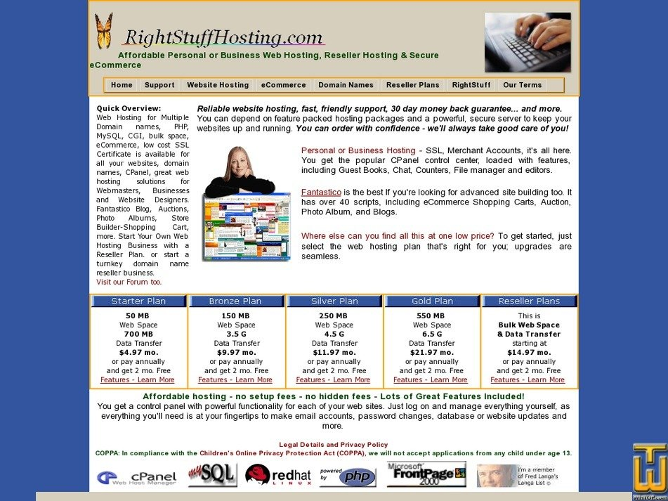 rightstuffhosting.com Screenshot