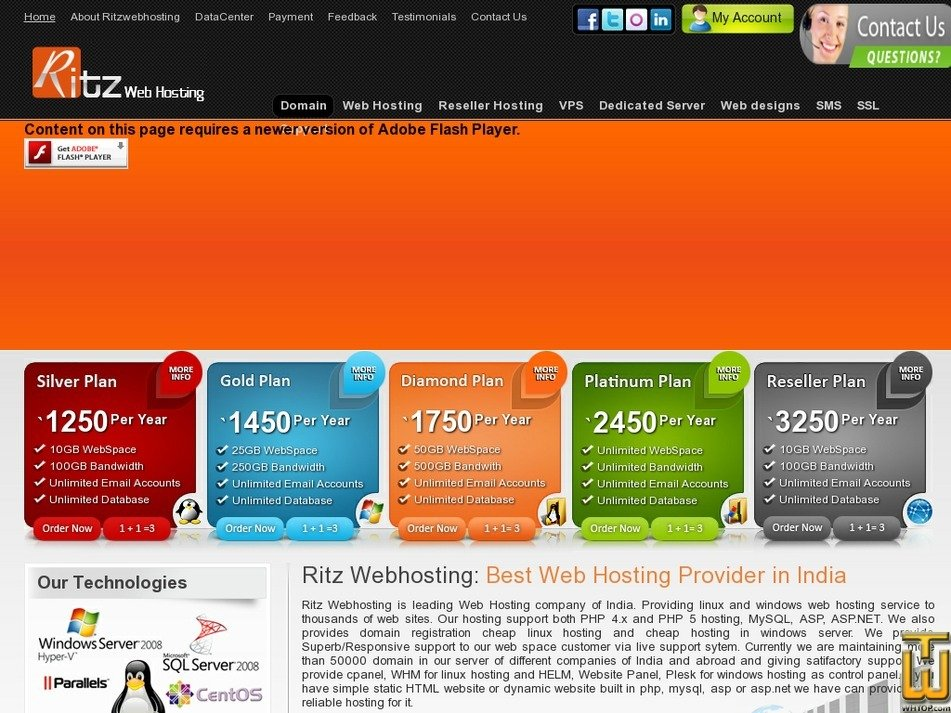 ritzwebhosting.com Screenshot
