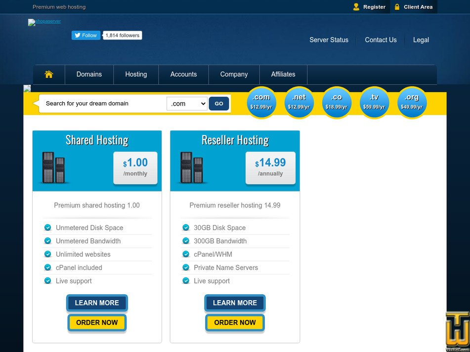 shopaserver.com Screenshot