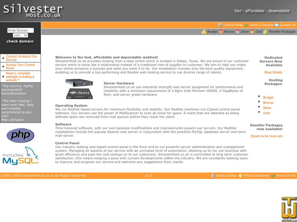 silvesterhost.co.uk Screenshot