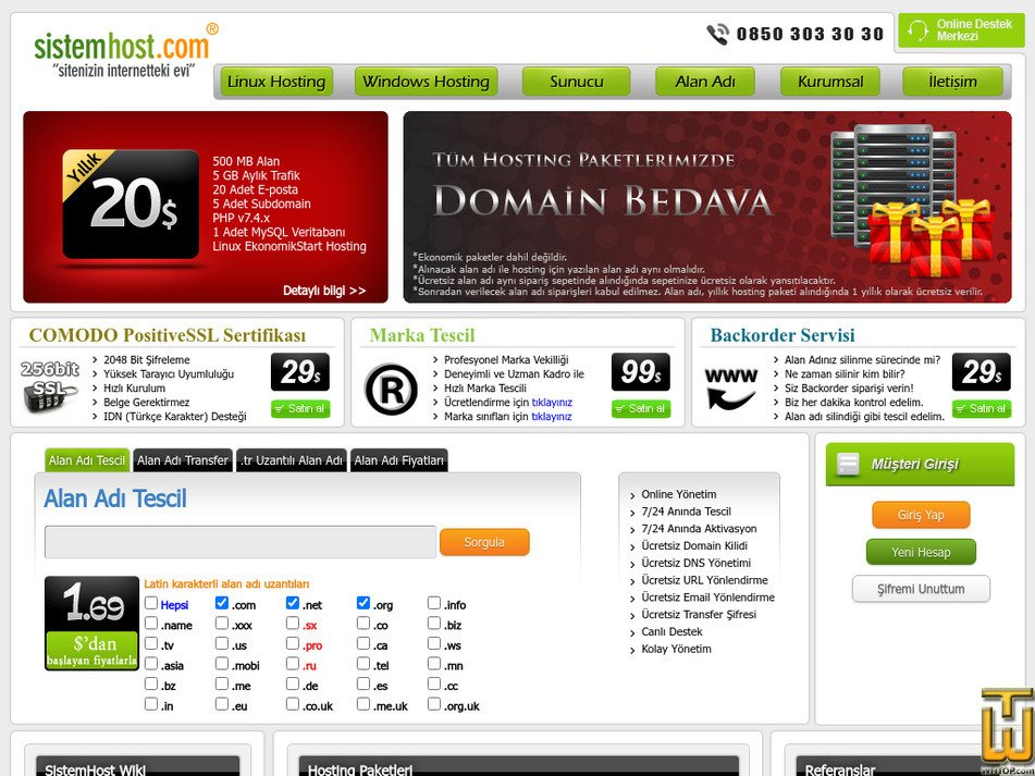 sistemhost.com Screenshot