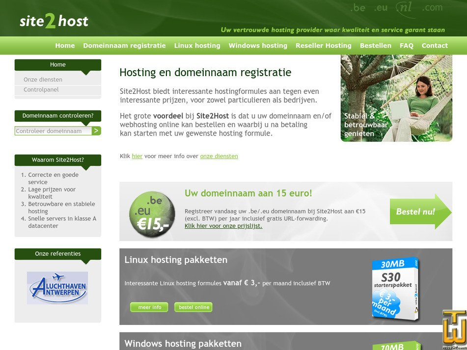 site2host.be Screenshot