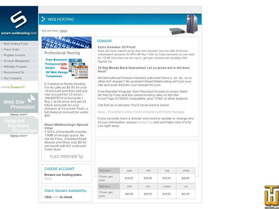 smart-webhosting.com Screenshot