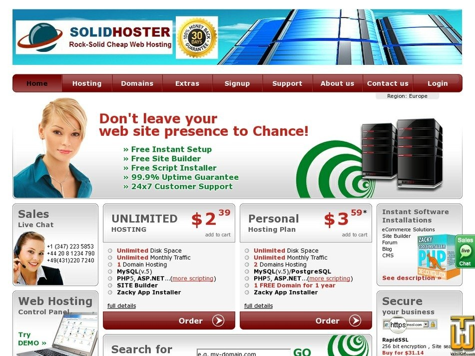 solidhoster.com Screenshot
