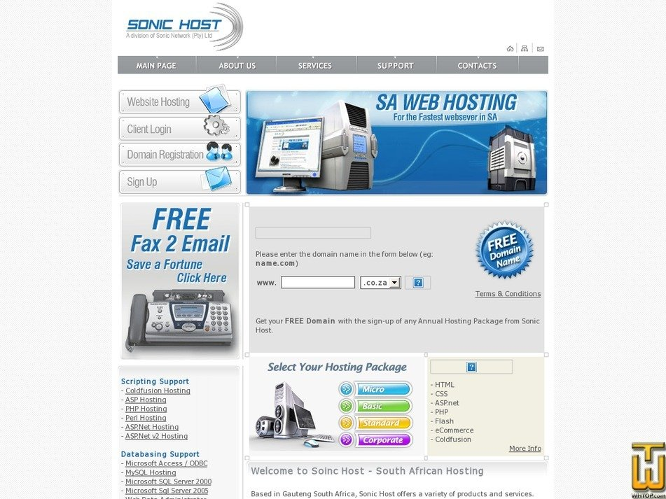 sonichost.co.za Screenshot