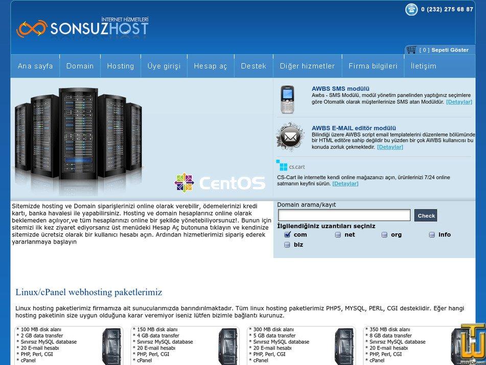 sonsuzhost.com Screenshot