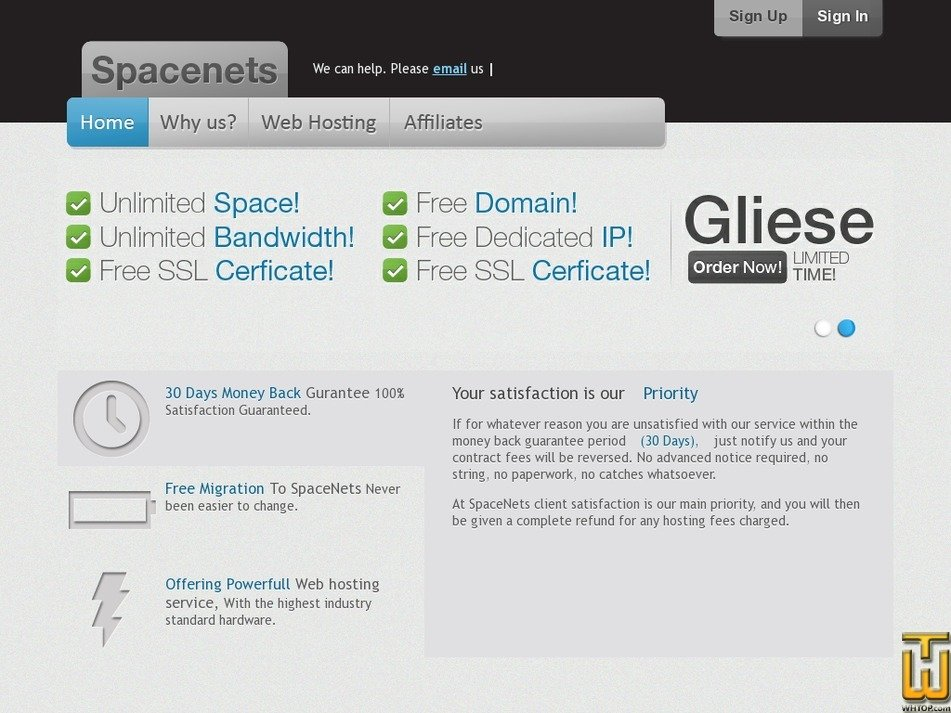 spacenets.com Screenshot