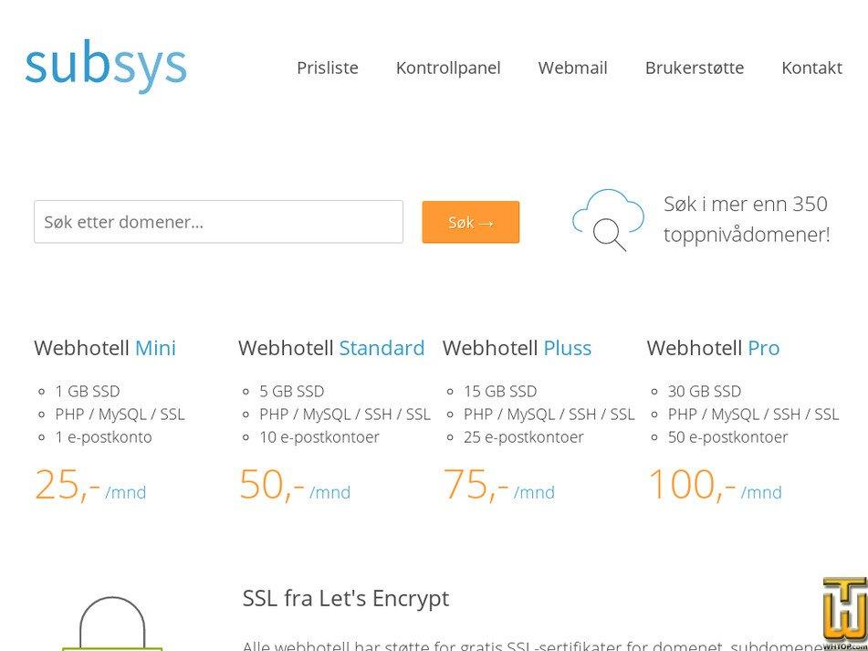 subsys.no Screenshot