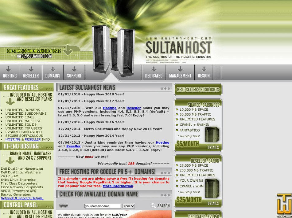 sultanhost.com Screenshot