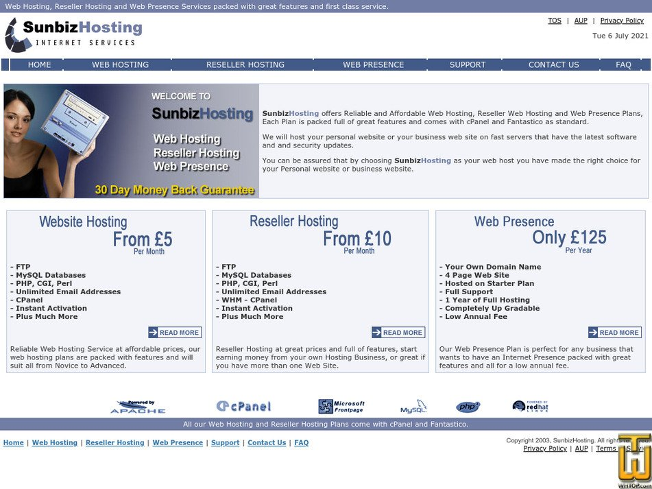 sunbizhosting.co.uk Screenshot