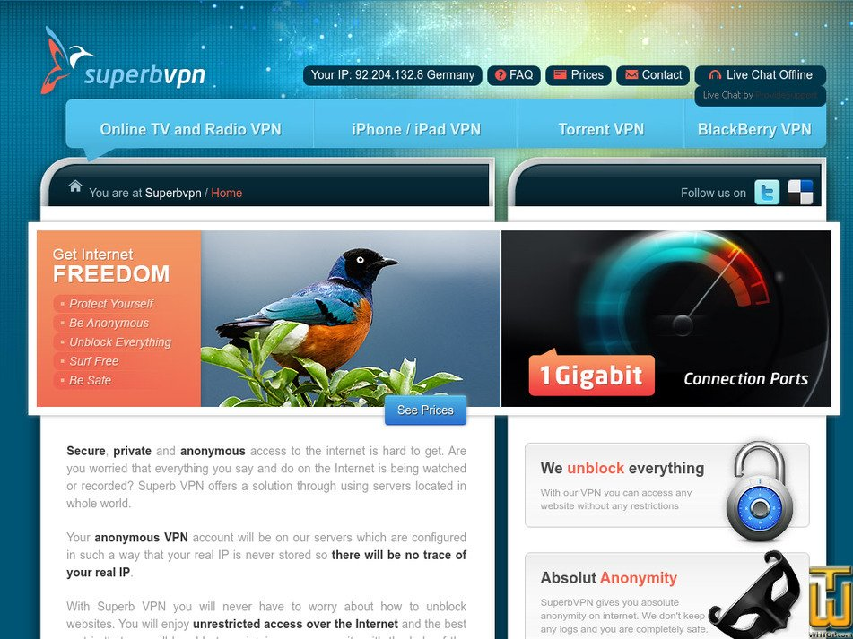 superbvpn.com Screenshot