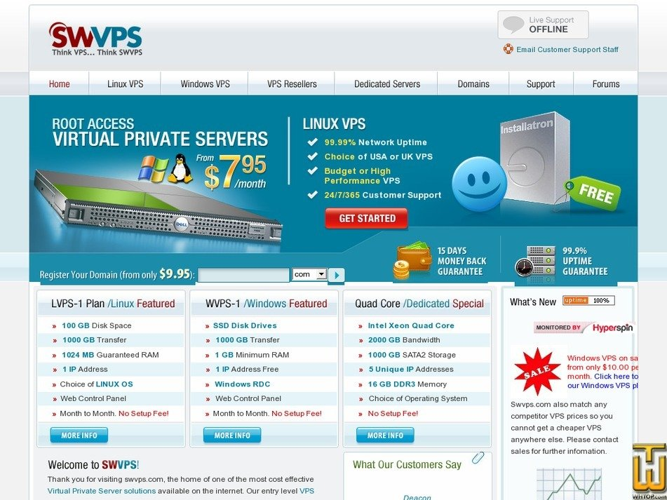 swvps.com Screenshot