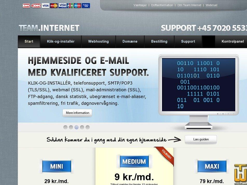 teaminternet.dk Screenshot