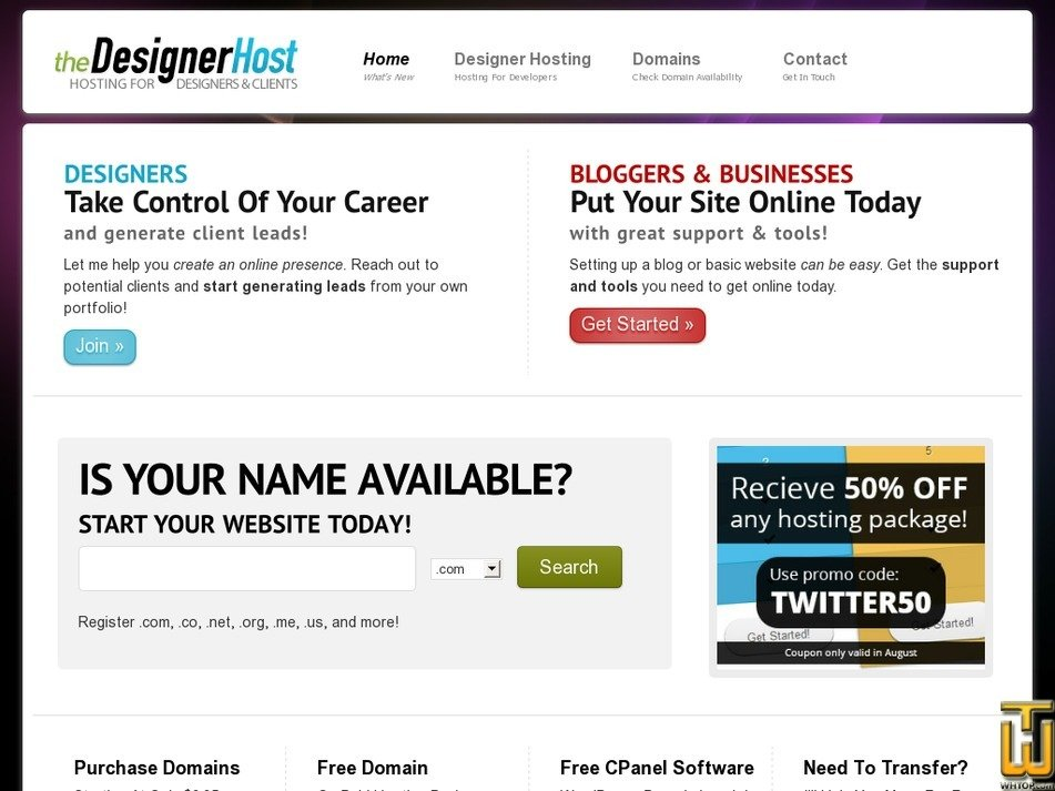 thedesignerhost.com Screenshot