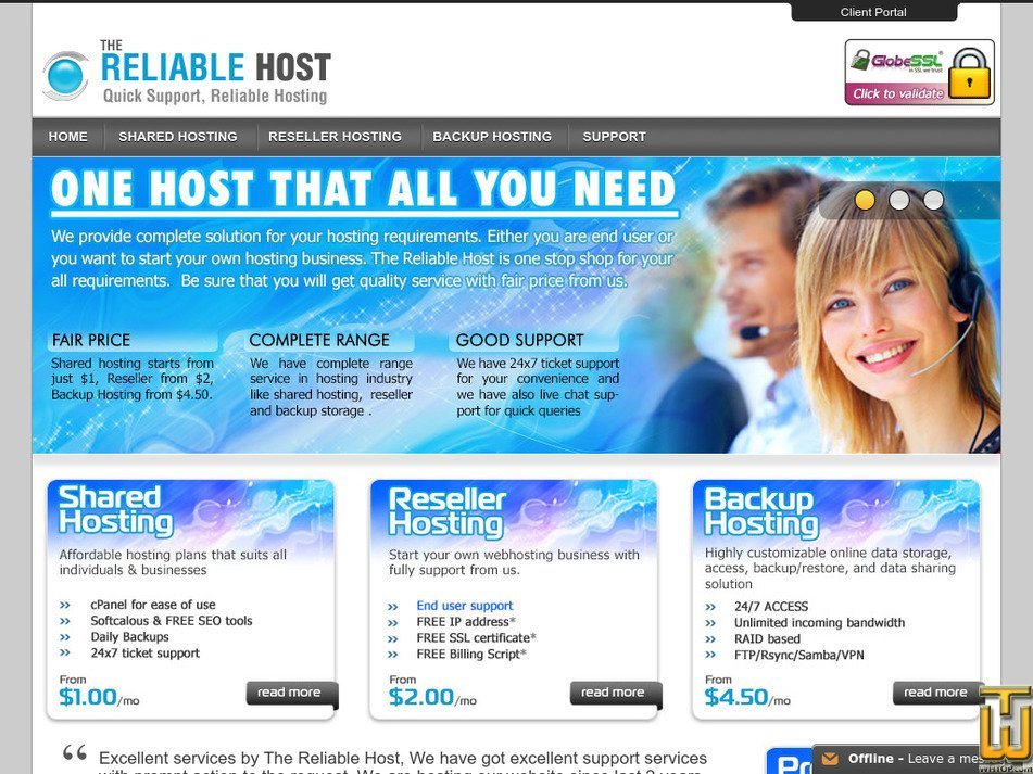 thereliablehost.com Screenshot