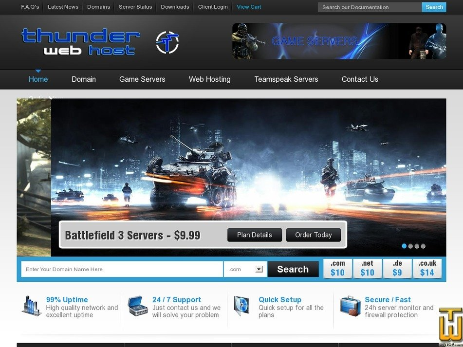 thunderwebhost.com Screenshot