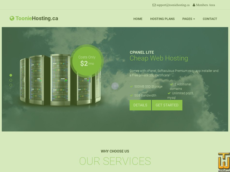 tooniehosting.ca Screenshot