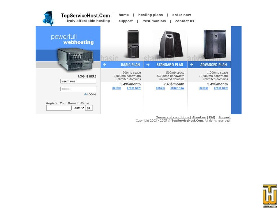 topservicehost.com Screenshot