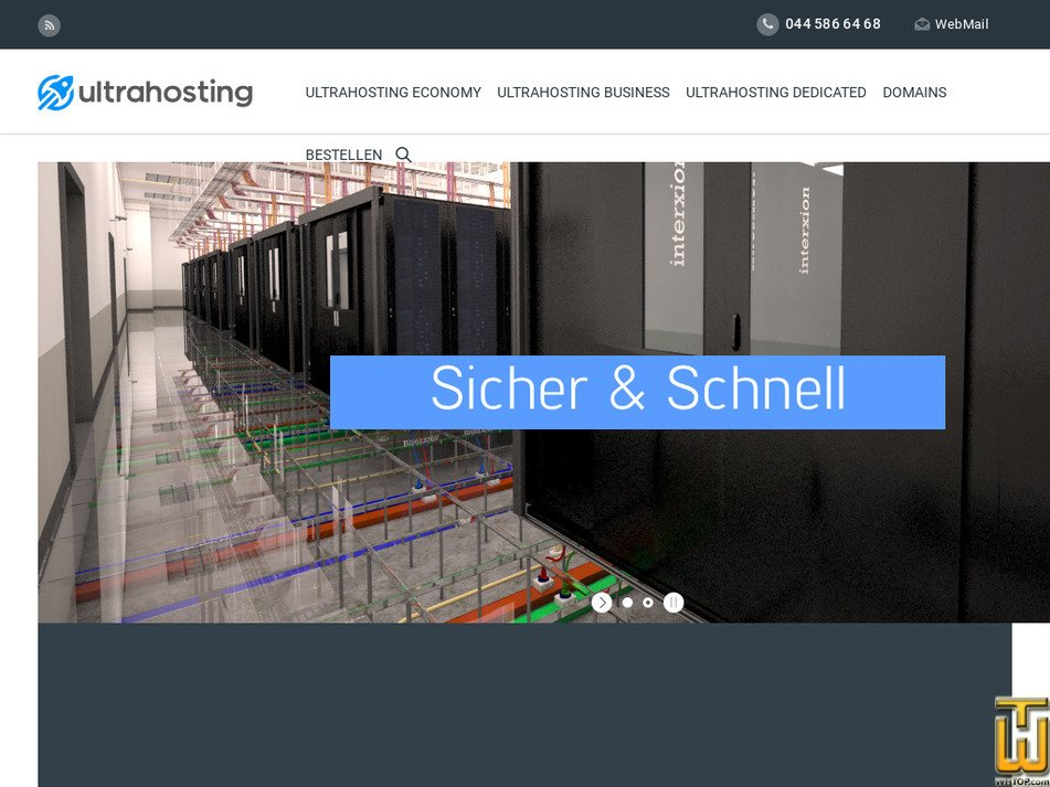 ultrahosting.ch Screenshot