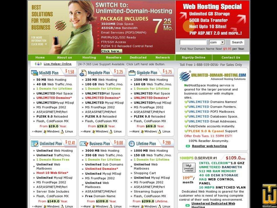 unlimited-domain-hosting.com Screenshot