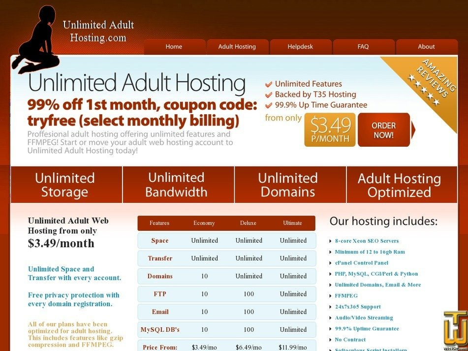unlimitedadulthosting.com Screenshot