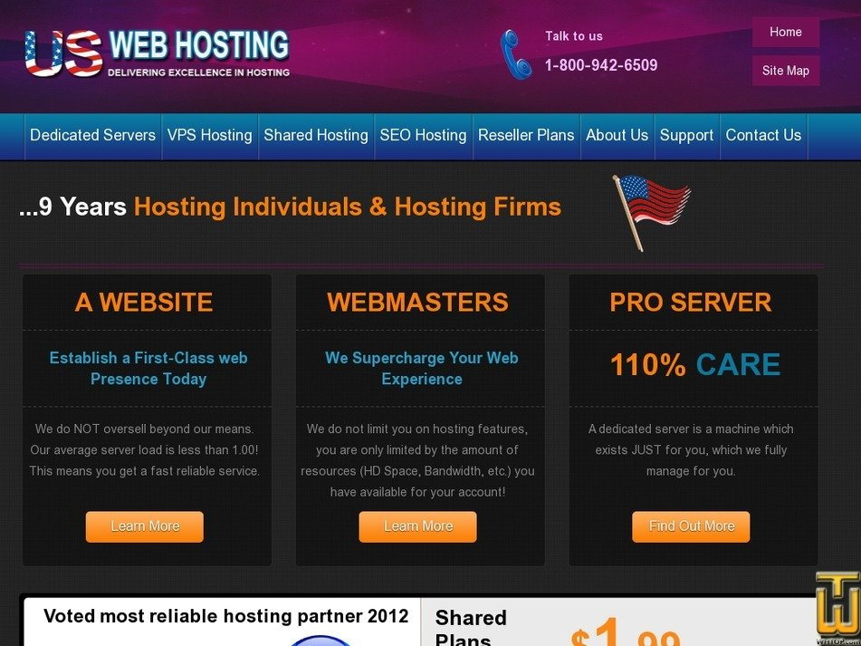 uswebhosting.com Screenshot