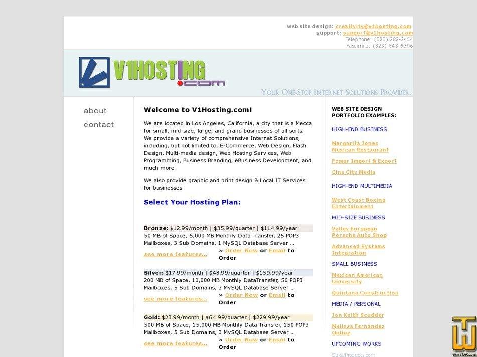 v1hosting.com Screenshot