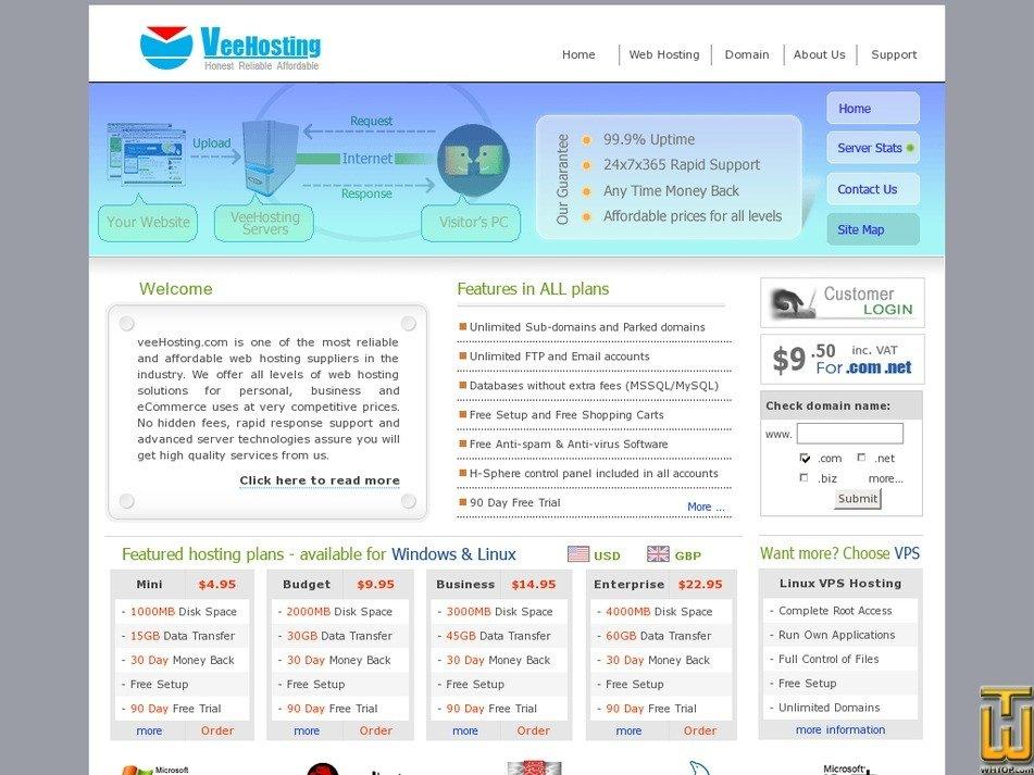 veehosting.com Screenshot