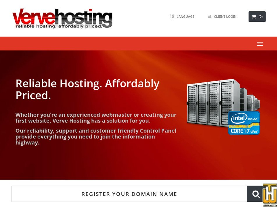vervehosting.com Screenshot