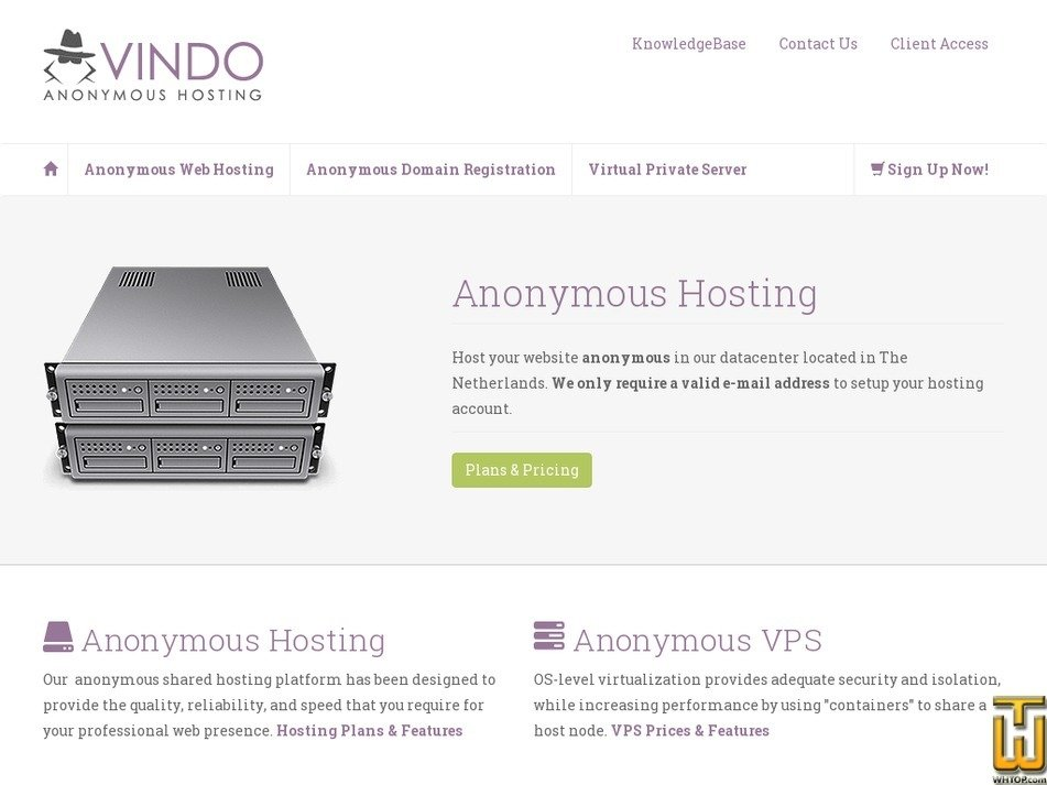 vindohosting.com Screenshot