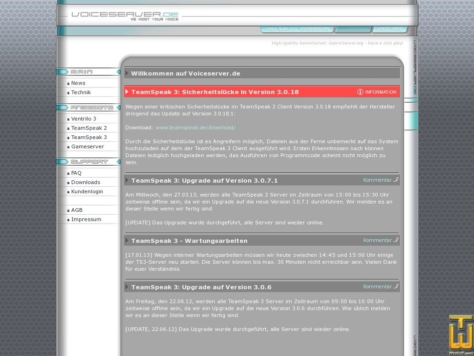 voiceserver.de Screenshot